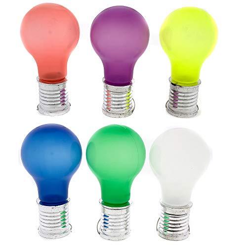 Annastore 6 x Solarlampen Glühbirne H 10 cm zum Hängen bunt gemischt für Draußen - Solar-Partybeleuchtung - Gartenbeleuchtung - Solar-Lampen für den Garten
