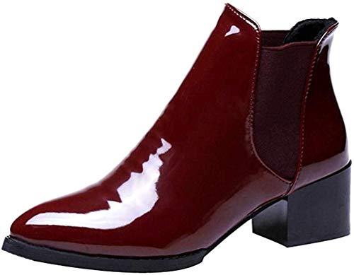 Botines de tacón Ancho de para Mujer Otoño Invierno 2018 Moda PAOLIAN Botas bajo Chelsea de Charol Zapatos de Punta Señora Calzado Piel de Dama Negras Botas Militares Talla Grande