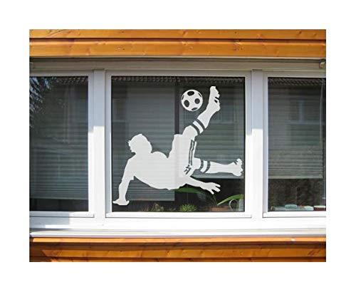 Fenstersticker No.UL6 Fußball - Overheadkick - Glas-Fensterfolie selbstklebend | Milchglasfolie 5 Farben Fensterfolie Klebefolie Sichtschutz Milchglas Bad Farbe: erfrischend mint Maße: 110cm x 120cm