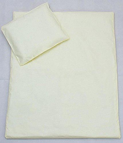 2 pièces Housse de couette et taie d'oreiller Garnissage de Lot de 120 x 90 cm, convient à lit de bébé – Crème uni