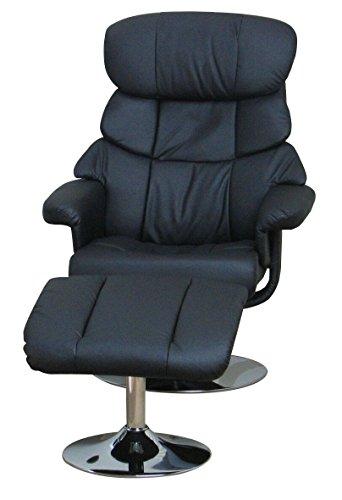 Dynamic24 Kunstleder Relax Sessel mit Hocker Fernsehsessel Polstersessel Wohnzimmer schwarz