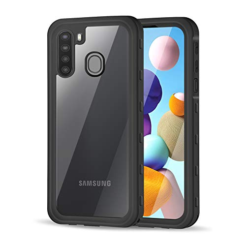 meritcase Samsung Galaxy A21 Case Waterproof, Built in Screen Protector Shockproof Dustproof Full Body Protective Phone Case Cover for Samsung A21