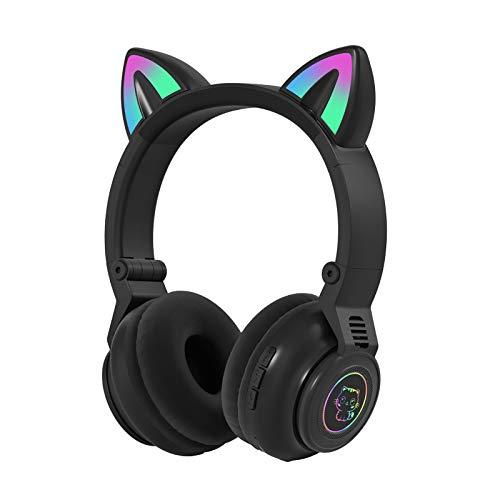 Katzenohr-Kopfhörer, Faltbar Kabellos Bluetooth Gaming-Headset mit Mikrofon und LED-Licht, Leuchtend Over-Ear-Kopfhörer, Geschenk für Kinder und Erwachsene