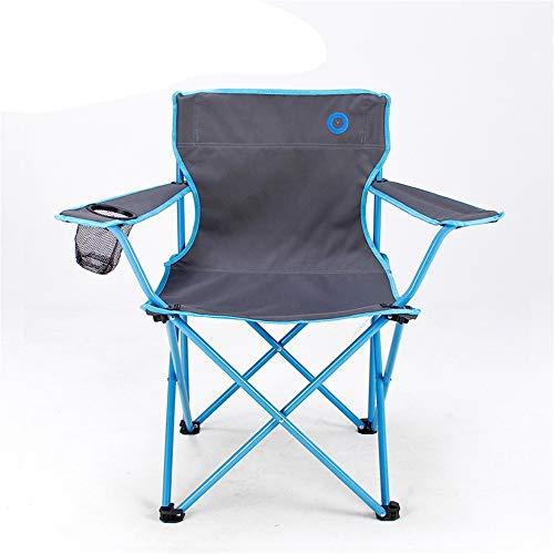 Ergonomische hoge rugleuning met draagtas, klapstoel voor outdoor, gevoerde armleuning, bekerhouder. blauw