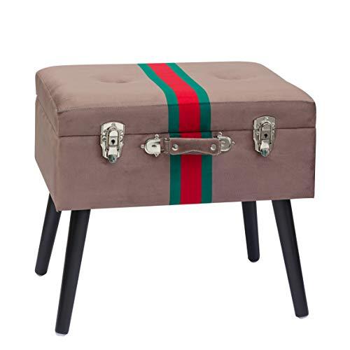 pouf contenitore verde Baroni Home Pouf Contenitore a Forma di Valigia in Velluto