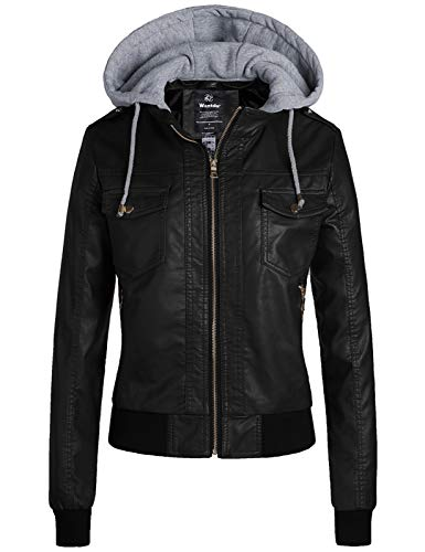 Wantdo Women's Quilted Classic Faux Leather Short Jackets with Hood Black M