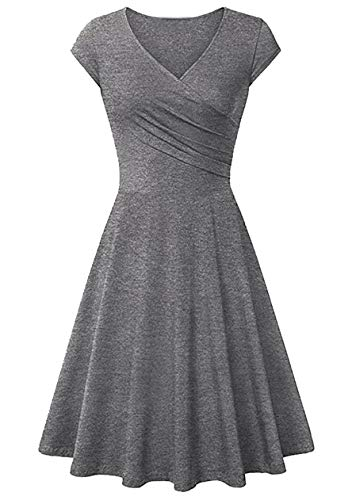 OMZIN - Vestido de mujer con escote en V, elegante, con mangas de alas, sexy, para cóctel, hasta la rodilla, informal, para fiestas gris M