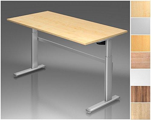 Elektrisch höhenverstellbarer Schreibtisch, Rechteckform, Arbeitshöhe 720-1190 mm, Gestell C-Fuß Silber, Tischplatte - Dekor:Buche;Größe:2000 x 1000 mm