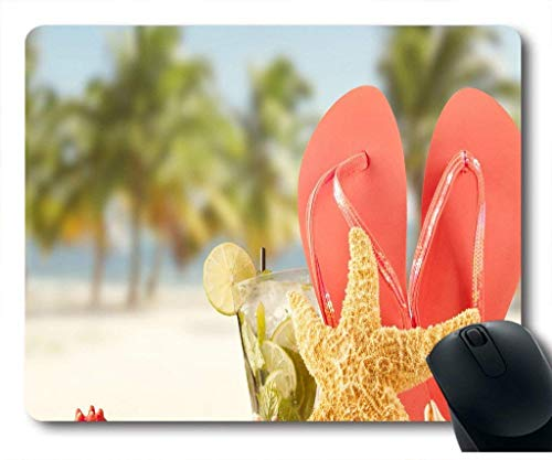 Mauspad mit Urlaub rote Flip Flops und Seestern im Sand Mojito Cocktail Neopren Gummi Standardgröße
