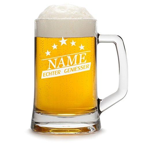 polar-effekt Bierkrug Personalisiert mit Gravur eines Namens - Bierseidel Geschenk zum Geburtstag - Motiv Geniesser Sterne 0,3l