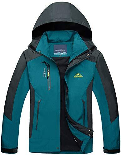 TACVASEN Herren Leichte Wasserdichte Softshell Jacke mit Abnehmbarer Kapuze, DE L, See Blau