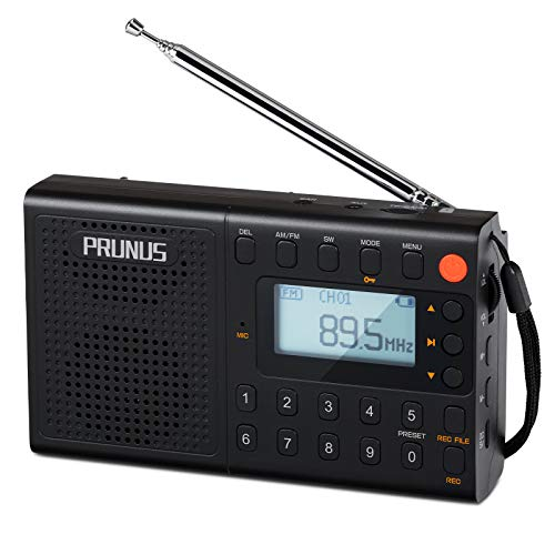 PRUNUS J-401 Shortwave Radio, AM FM Digital Radio with Preset Function, Rechargeable Radio, Portable MP3 Player with Lyric Display and Double Speakers, Support Recording
