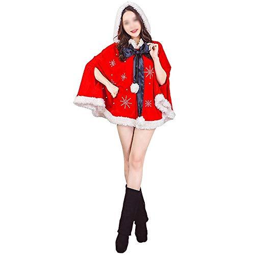 AAJTCT Festival Prodotti Costume del Partito di Natale Sveglio della Peluche Red Diamond Fiocco di Neve del Capo Mantello Quotidiana Dress Prestazioni Vestiti di Babbo Natale