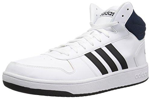 adidas Originals Hombres Vs Hoops Mid 2.0, blanco (Blanco/Core Negro/Azul Marino Universitario), 44.5 EU