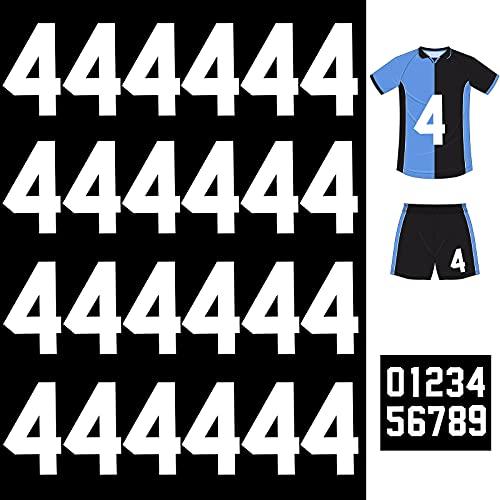 25 Piezas Números Planchados Números de Transferencia de Calor Letras Planchadas de 8 Pulgadas para Uniforme de Equipo Camiseta Deportiva Fútbol Baloncesto Béisbol (Blanco 4)