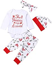 4 pcs Baby Girls Pants Set Newborn Infant Toddler Letter Romper Arrow Heart Pants Hats Headband Clothes (red 0, 0-6 Months)