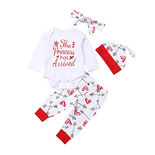 4 pcs Baby Girls Pants Set Newborn Infant Toddler Letter Romper Arrow Heart Pants Hats Headband Clothes (red 0, 0-6 Months)