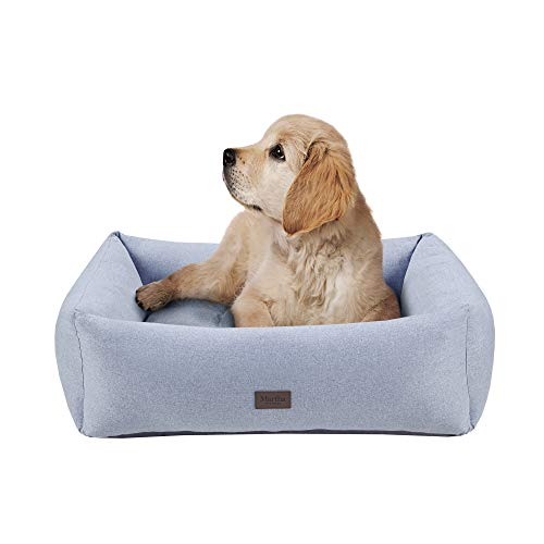 MARTHA STEWART Orthopedic Dog Lounge Sofa, Removable Cover All Around Protection Four Sided Bolster Comfie Pet Beds, Medium, Heather Grey
