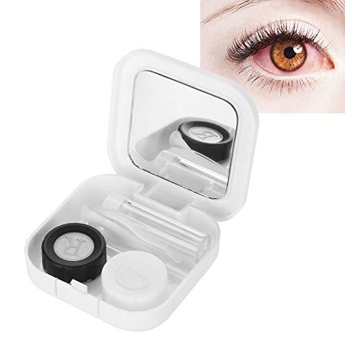 Kontaktlinsen Box, Mini einfacher Travel Kontaktlinsenetui mit Spiegel + Kontaktlinsenbehälter + Pflege-Flüssigkeitsflasche + Doppelte Anschlussbox + Pinzette + Stick(weiß)