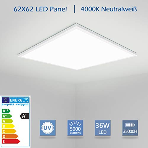 [Pro High Lumen]OUBO LED Panel 62x62 Neutralweiß 4000K LED Deckenleuchte Ultraslim 36W 5000 Lumen Weißrahmen Pendelleuchte Wandleuchten für Küche, Keller, Büro, inkl. Netzteil
