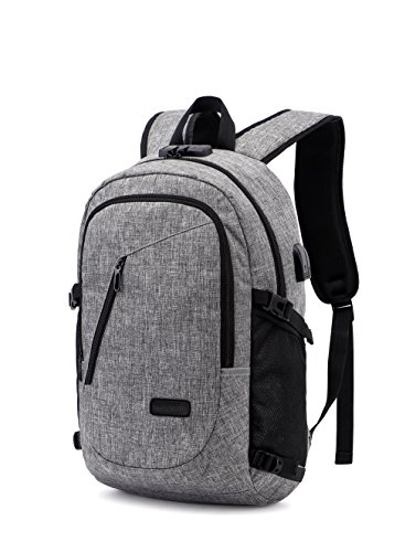 Anti-theft Backpack, 35L Oxford Cloth Daily Waterproof Hiking Laptop Backpack with USB Charging Port and Headphone Interface & Password Lock Rucksack Backpack for Mens,Womens,Students (Upgrade Grey)