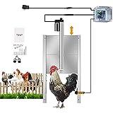 Kacsoo Kit d'ouvre-porte automatique pour poulailler, télécommande et commande de minuterie, Kit d'ouvre-porte automatique pour poulailler de luxe étanche à la pluie, porte de poulet en métal robuste