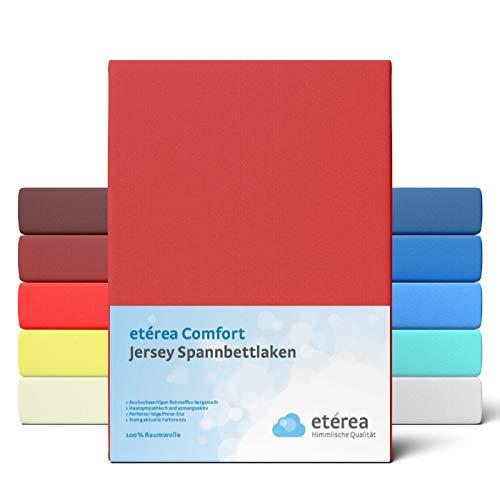 etérea Comfort Jersey Spannbettlaken 100x 200 bis 120x200 cm - Weiches Spannbetttuch aus 100% Baumwolle, Bettlaken mit ca. 25 cm Steghöhe und 140 g/m², Kirsche