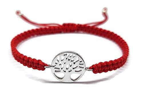 MYSTIC JEWELS by Dalia Armband aus 925er Sterlingsilber – Baum des Lebens – in Macrome Faden rot – verstellbar – zum Verschenken Silber