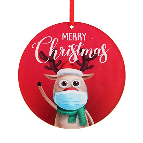 Hohomark Quarantine Christmas Ornaments 2020 Cute Elk Wear Mask Christmas Tree Ornaments Decorations 3.5' Masked Christmas Hanging Ornaments to Remember 2020 Year