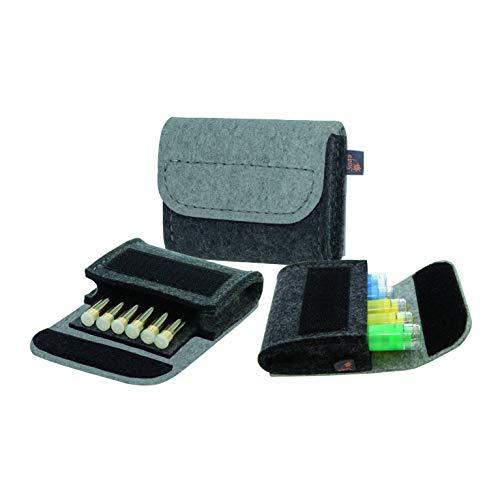 Premium Taschenapotheke von ebos | handgefertigte Reiseapotheke aus echtem Wollfilz | 6 Schlaufen für Globuli-Röhrchen | Globuli-Tasche zur Aufbewahrung von homöopathischer Hausapotheke | grau