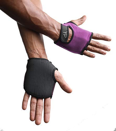 YogaPaws SkinThin Non-Padded Yoga Gloves for Women and Men, Non Slip Grip, for Hot Yoga, Vinyasa, Pilates, Barre, SUP, Travel, and Sweaty Hands, Rich Plum, Size 1