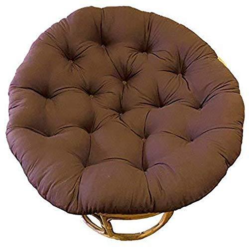 KKLTDI Papasan stoel kussen, rotan D110cm rond zacht zitkussen, hangmat zitkussen voor tuin balkon bruin 110cm