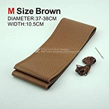 leather steering wheel cover - Hot Selling Popular New DIY Car Cowhide Genuine Leather Steering Wheel Cover With Hole Size M 37-38CM Black/Gray/Brown/Beige (Brown M)