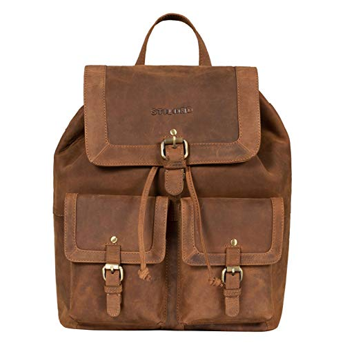 STILORD 'Nora' Ladies Vintage Leather Rucksack for 15.6 Inch Laptop Large Daypack Backpack for School Office University in Genuine Leather, Colour:tan - Dark Brown