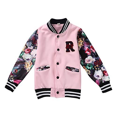Hahuha Kinderbekleidung,5-7 Jahre alt Teen Kinder Baby Mädchen Baseball Jacke Langarm Print Streifen Mantel Outwear