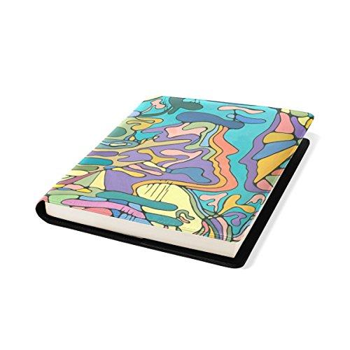 COOSUN Peinture colorée Livre Sox Stretchable Couverture de Livre, adaptée à la Plupart Relié jusqu'à 9 manuels x 11. adhésif Libre, école Cuir PU Livre Protector 9 x 11 Pouces Multicolore