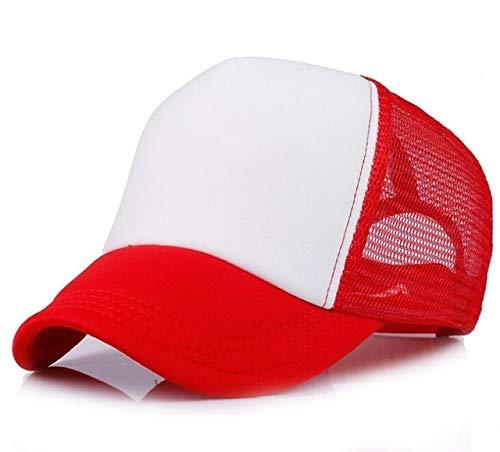 Polister Hombres Mujeres Gorra de bisbol Malla Snapback Imprimir Logo Sombrero de Camionero-Red and white-1-48-52(Kids)