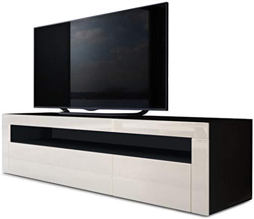 Vladon TV Board Lowboard Valencia, Korpus in Schwarz matt/Front in Creme Hochglanz mit Rahmen in Creme Hochglanz