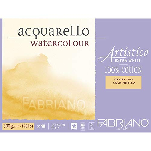 Fabriano Artistico 140 lb. Cold Press 20 Sheet Block 9x12' - Extra...