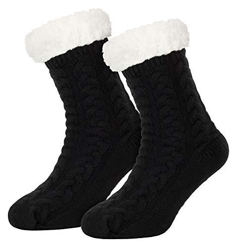 Piarini 1 Paar Kuschelsocken mit ABS Sohle - warme Damen Socken - Wintersocken mit Anti Rutsch Noppen - dicke Haussocken schwarz