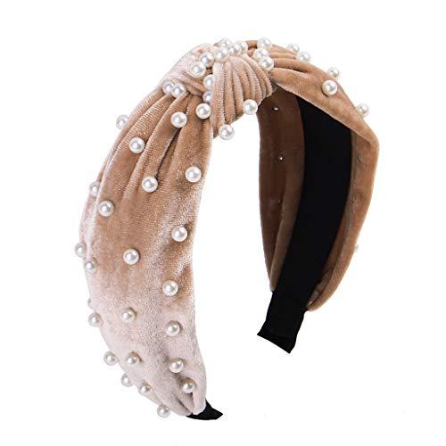 Headbands for Women Pearl Headbands - 1PCS Twisted Faux Pearl Velvet Headband Elegant Bling Hair Clip Hairpins Headwear Barrette Styling Tools Accessories,Creamy White