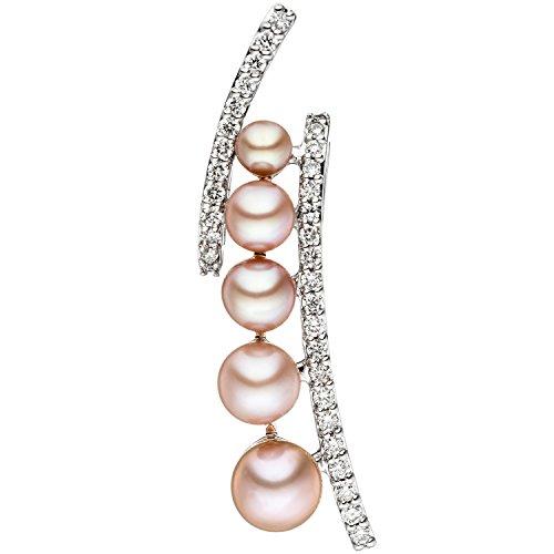JOBO Damen-Anhänger aus 585 Weißgold mit 5 Perlen und 33 Diamanten