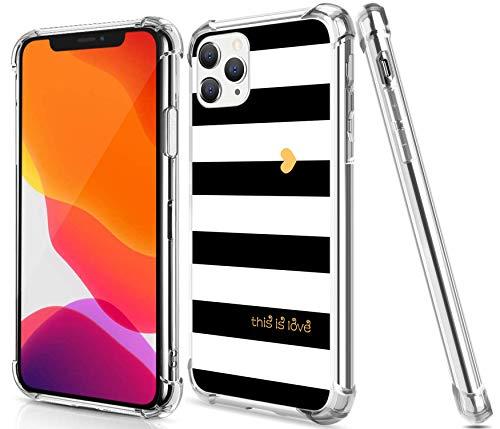 Gifun Schutzhülle für iPhone 12 Mini, Hartplastik + TPU, transparent, kompatibel mit iPhone 12 Mini 5,4 Zoll (13,7 cm) Version 2020, Weiß / Schwarz / Gold