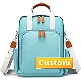 ZZMGDAM Personalisierter Name Floral Rucksack Neugeborene Windel Tasche für Mädchen Großer Rucksack mit Wickelkissen (Color : Qianlvse, Size : One size)