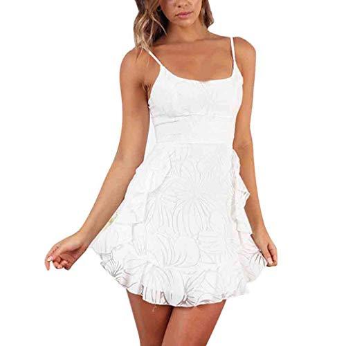 Sayhi Womens Spaghetti Strap Printed Ruffled Dress Summer Beach Buttons Party Dress Sling Mini Dress (White,S)