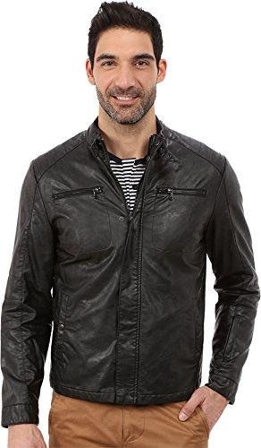 Kenneth Cole New York Faux Leather Moto Jacket (XXL, Black)