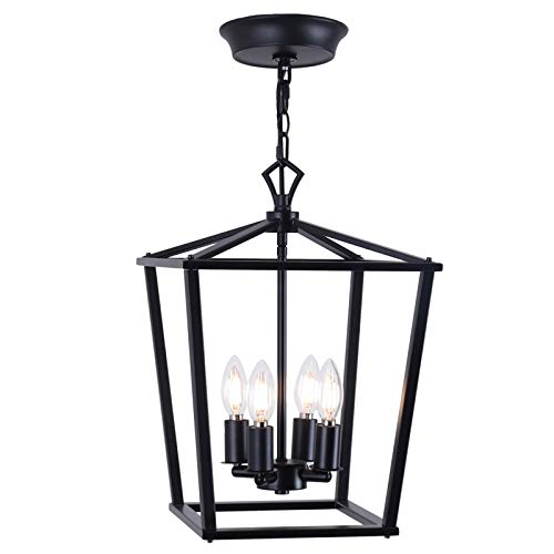 Luenfat Farmhouse Chandelier, Lantern Pendant Light, Industry Foyer Ceiling Lighting Fixture,12inch,Black, Vintage Openwork Cage Hanging Light for Kitchen Island Dining Room,Stairwell Shop(Black)