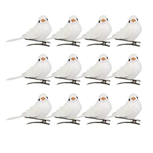 FLAMEER 12er/Pack Deko Vögel Dekovögel Dekovogel Kunstvogel Baumschmuck mit Clip Ornamente Zuhause Party Dekoration - Weiß