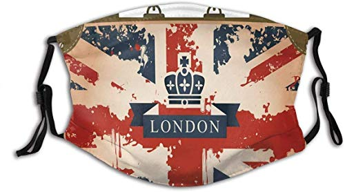 Face Scarf Bandana Travel Suitcase with British Flag London Ribbon and Crown Image Breathable Mouth Scarf Protective
