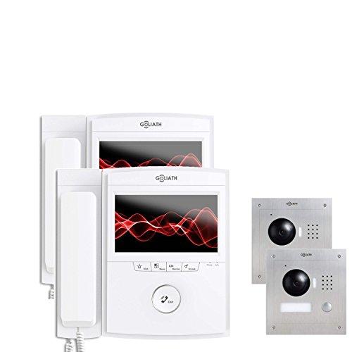 Goliath AV-VTC91 IP deurbel met camera en monitor, inbouw deurstation, roestvrij staal, HD-camera, app, deuropener-functie, video-opname, videogeheugen, 1 familiehuis-set